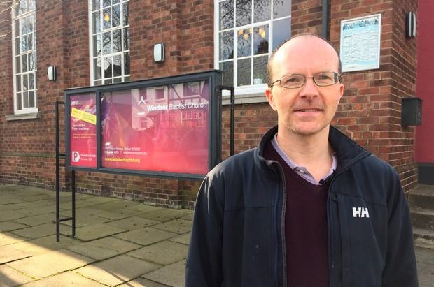 True Freedom Trust director Stuart Parker outside Windsor Baptist Church in Belfast where campaigners for LGBT rights held a protest against a Christian conference that is being held offering support for people experiencing