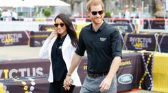 Prince Harry, Duke of Sussex and Meghan, Duchess of Sussex during the JLR Drive Day at Cockatoo Island on October 20, 2018 in Sydney, Australia. (Photo by Chris Jackson/Getty Images for the Invictus Games Foundation)