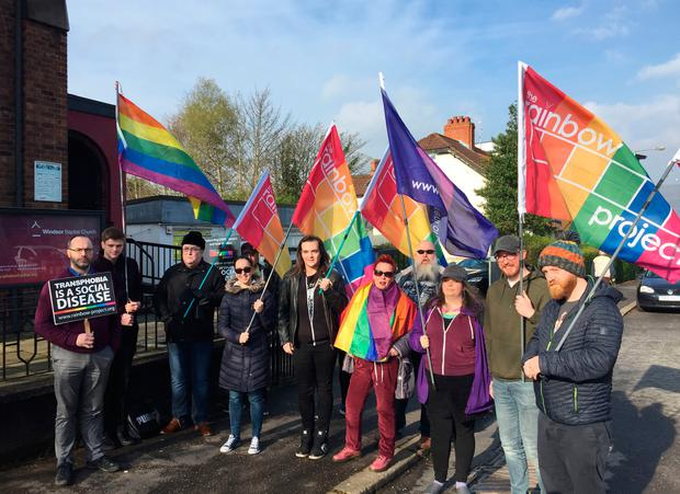 Campaigners for LGBT rights holding a protest outside Windsor Baptist Church in Belfast where a Christian conference is being held offering support for people experiencing