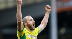 Teemu Pukki of Norwich City celebrates after scoring his team's fourth goal during the Sky bet Championship match between Norwich City and Queens Park Rangers at Carrow Road (Photo by Ross Kinnaird/Getty Images)