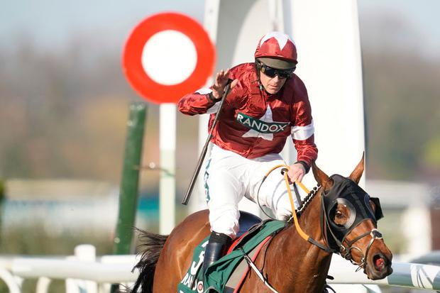 Davy Russell celebrates as he rides Tiger Roll to win The Randox Health Grand National on Grand National Day at Aintree Racecourse (Photo by Alan Crowhurst/Getty Images)