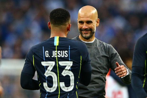 af58a9dd5 Manchester City manager Pep Guardiola celebrates with Gabriel Jesus of Manchester  City after the FA Cup