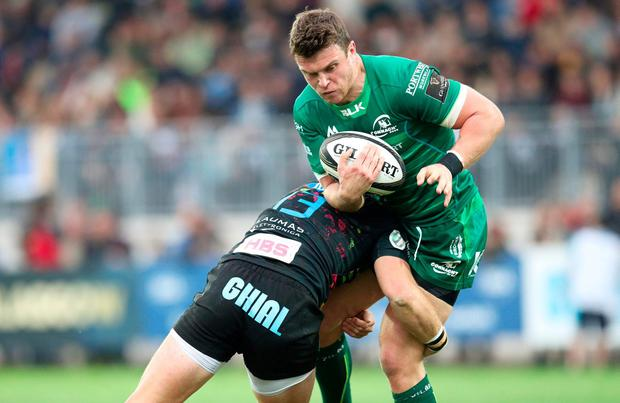 Tom Farrell of Connacht is tackled by Giulio Bisegni of Zebre. Photo: Roberto Bregani/Sportsfile