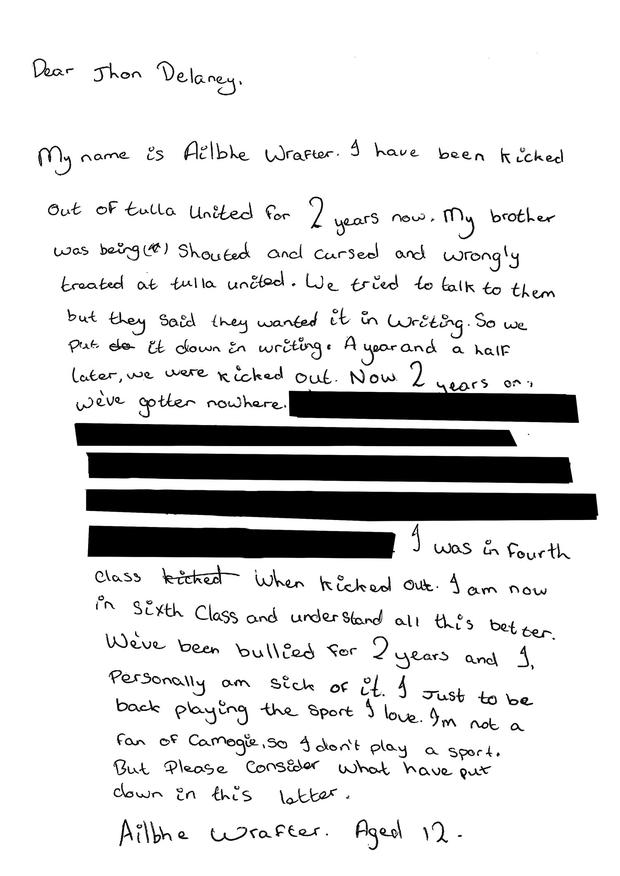 Ailbhe Wrafter's letter to John Delaney in December 2017.