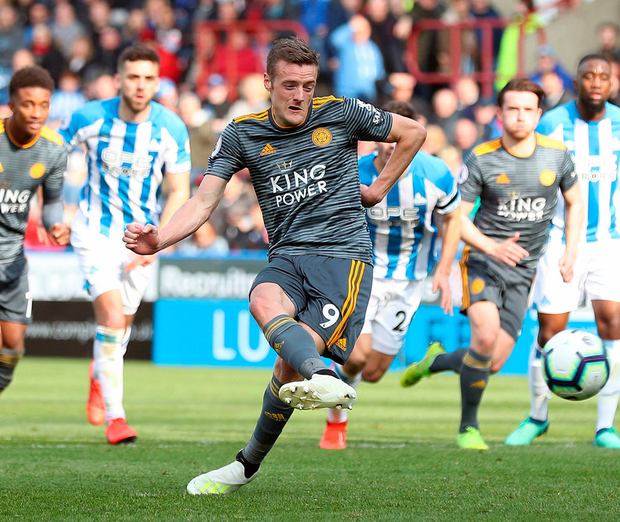 Leicester City's Jamie Vardy scores his side's fourth goal of the game. Photo: Martin Rickett/PA