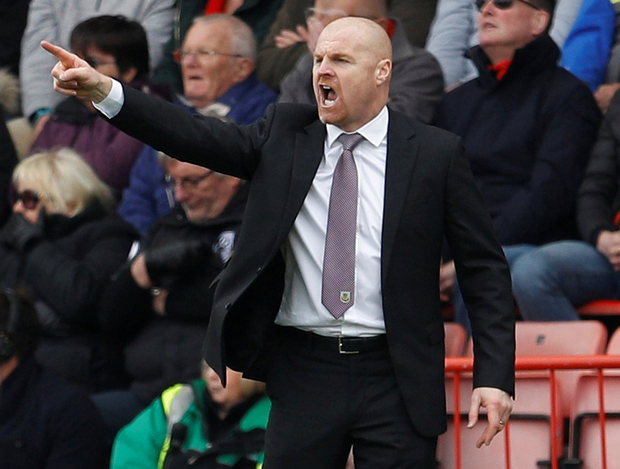 Burnley manager Sean Dyche steers his side to victory. Photo: Peter Nicholls/Reuters