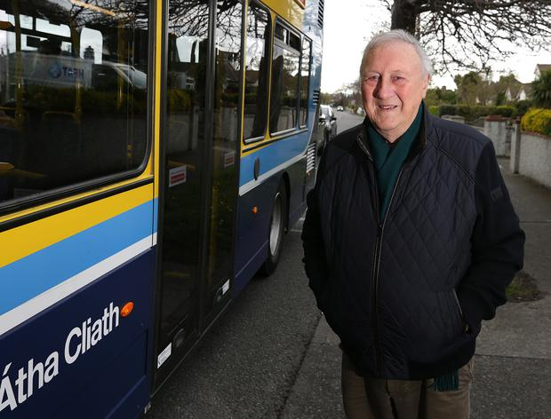 Godsend: Memories come flooding back for journalist Tom McCaughren as he's about to board his treasured 15A bus. Photo: Damien Eagers