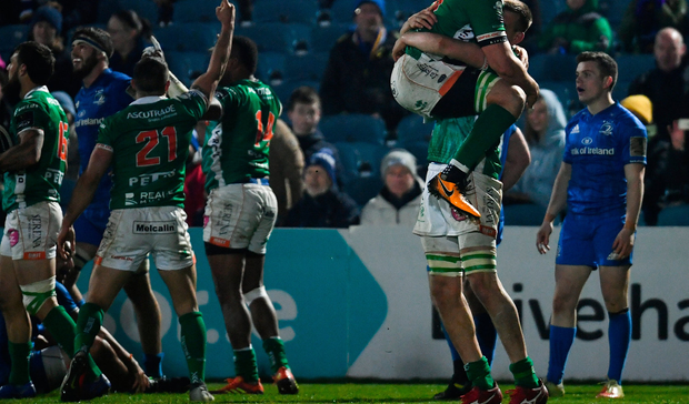 6 April 2019; Benetton players Giovanni Pettinelli, left, and Federico Ruzza celebrate a last minute try during the Guinness PRO14 Round 19 match between Leinster and Benetton at the RDS Arena in Dublin. Photo by Ramsey Cardy/Sportsfile
