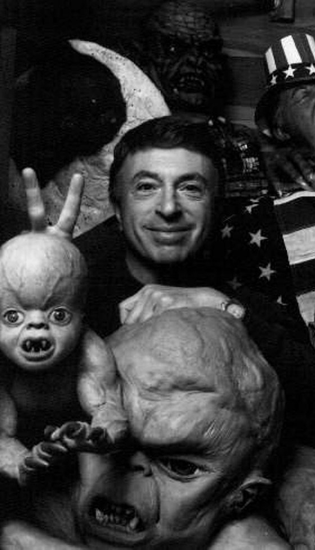 PROLIFIC: Renowned Hollywood B-movie director Larry Cohen with some of his props