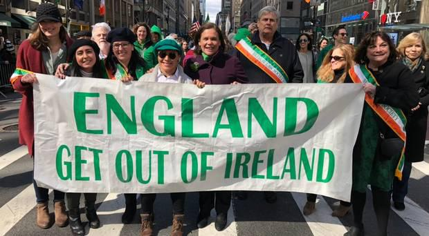 "Mary Lou McDonald has apologised for walking behind a banner in the New York St Patrick's Day parade which read ""England get out of Ireland"". Photo: Sinn Fein"