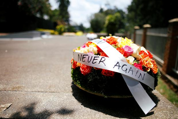 A wreath is seen at the Genocide Memorial in Gisozi in Kigali, Rwanda April 6, 2019.REUTERS/Baz Ratner