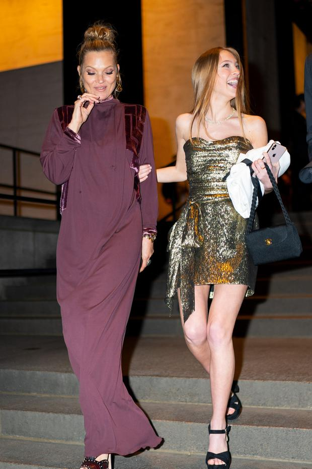 Kate Moss (L) and Lila Grace Moss Hack attend Marc Jacobs and Char DeFrancesco's wedding reception at The Grill in Midtown on April 07, 2019 in New York City. (Photo by Gotham/GC Images)