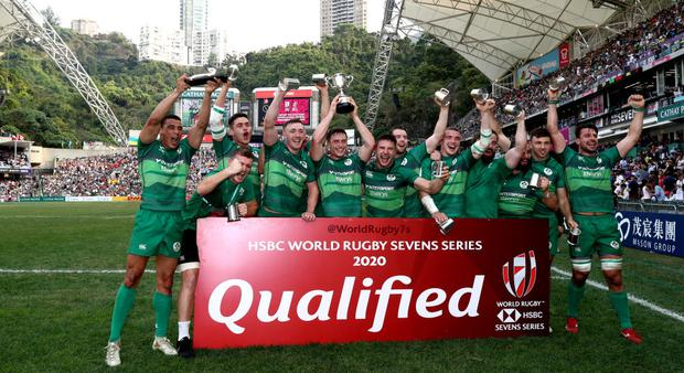 Ireland celebrate after winning the Qualifiers final against Hong Kong on day three of the Cathay Pacific/HSBC Hong Kong Sevens at the Hong Kong Stadium on April 07, 2019. (Photo by Hannah Peters/Getty Images)