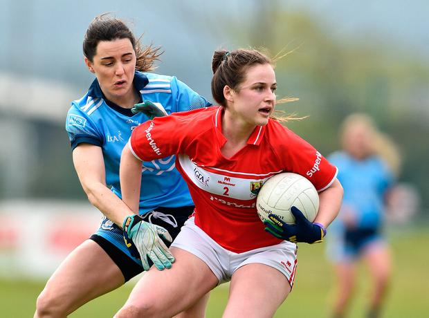 Clare O'Shea of Cork in action against Lyndsey Davey of Dublin