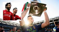 Ma;yo's Kevin McLoughlin celebrates Allianz League success and (inset) Salah and Firmino