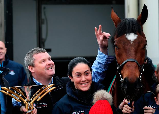 2019 Grand National Winner Tiger Roll with trainer Gordon Elliott during the parade through Summerhill, County Meath, Ireland. Photo: Brian Lawless/PA Wire