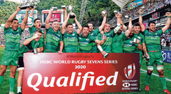 Ireland celebrate after winning the Qualifiers final against the hosts at the HSBC Hong Kong Sevens yesterday. Photo: Getty Images