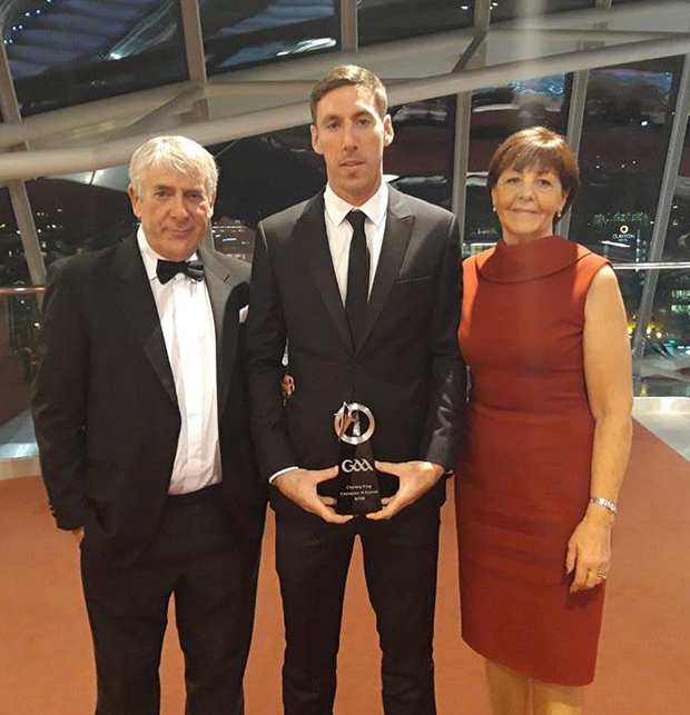 Brian Regan is pictured with his parents Ann and Joe when collecting his 2018 Christy Ring Cup Champion 15 All-Star award at Dublin's Convention Centre last November