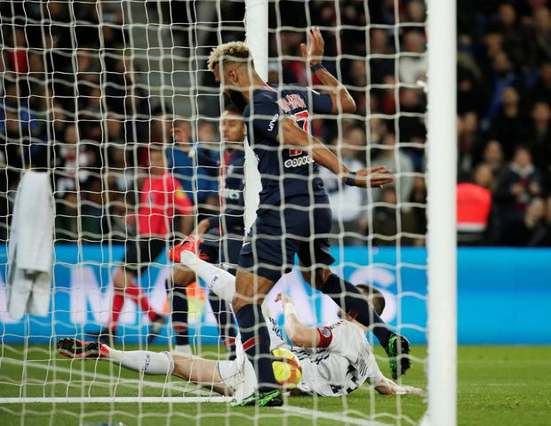 Paris St Germain's Eric Maxim Choupo-Moting misses a chance to score on the goal line