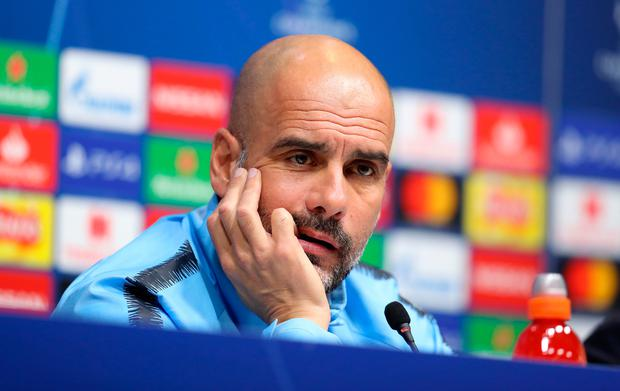 Manchester City manager Pep Guardiola during the press conference at Tottenham Hotspur Stadium, London. Bradley Collyer/PA Wire