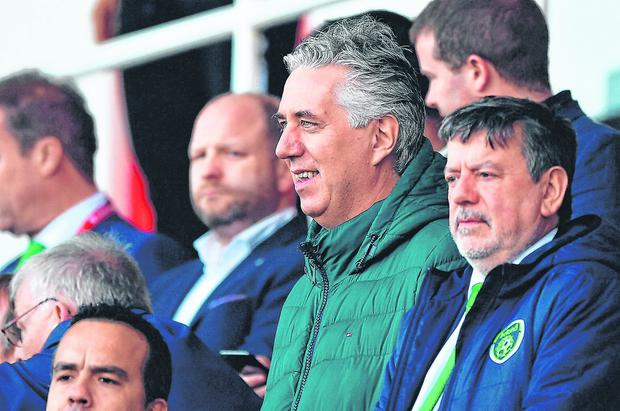Executive Vice President John Delaney with FAI president Donal Conway (right) at the game against Gibraltar. Photo: Seb Daly/Sportsfile
