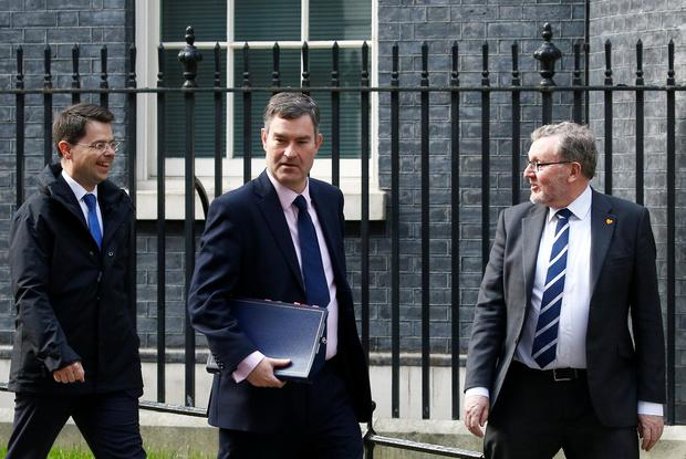 Britain's Secretary of State for Housing James Brokenshire, Secretary of State for Justice David Gauke and Secretary of State for Scotland David Mundell are seen outside Downing Street, as uncertainty over Brexit continues, in London, Britain April 8, 2019. REUTERS/Henry Nicholls