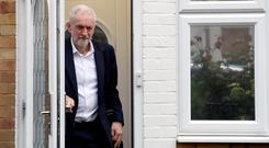 Britain's Labour Party leader Jeremy Corbyn leaves his home as Brexit uncertainty continues in London. Photo: REUTERS/Simon Dawson