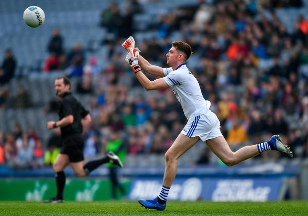 Graham Brody makes a foray upfield during Laois's defeat against Westmeath in the Division 3 final. Photo: Ray McManus/Sportsfile
