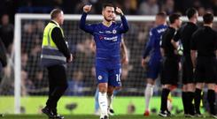 Chelsea's Eden Hazard acknowledges the fans after Chelsea's win (John Walton/PA).