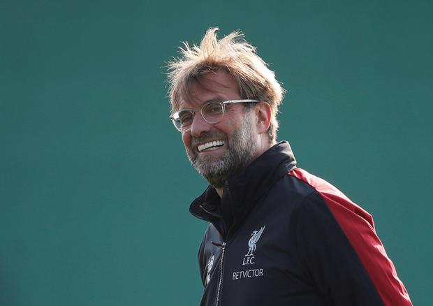 Smiles better: Liverpool manager Jurgen Klopp looks on at training ahead of tonight's clash with Porto. Photo: Reuters