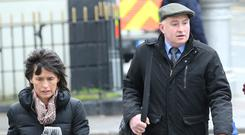 Patrick Quirke and his wife Imelda outside court, where he has pleaded not guilty to murder. Photo: Collins Courts