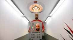 1 April 2019; Irish International and Sheffield United player David McGoldrick pictured with his FIFA Ultimate Team rating at Bramall Lane, Sheffield. EA SPORTS FIFA 19 is available on Playstation, Xbox, PC and Nintendo Switch, head to https://www.easports.com/fifa to get your copy. Photo by Stephen McCarthy/Sportsfile *** NO REPRODUCTION FEE ***