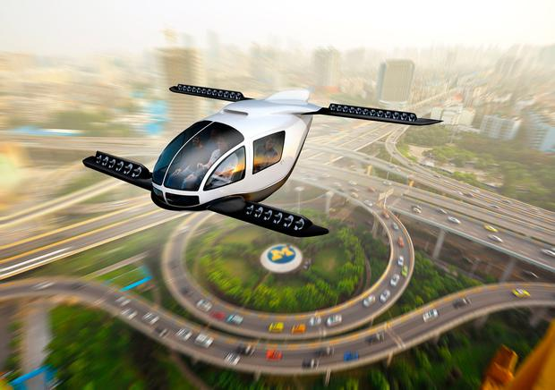 Up, up and away: An artist's impression of a flying car. Photo: PA