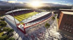 An artists impression of the redeveloped Dalymount Park