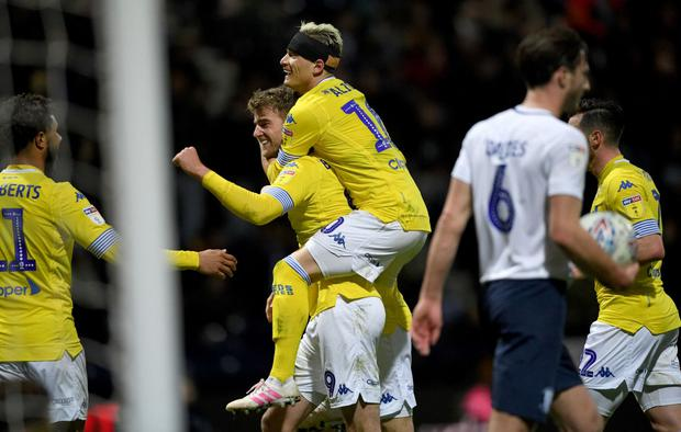 Patrick Bamford of Leeds United is congratulated after he scores his second goal during the Sky Bet Championship match between Preston North End and Leeds United at Deepdale (Photo by Gareth Copley/Getty Images)