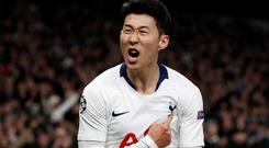 Tottenham's Son Heung-min shows his delight at putting his team in front against Manchester City last night in their Champions League quarter-final, first leg clash. Photo: Action Images via Reuters