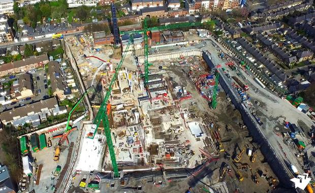 Work in progress: An aerial shot of the new children's hospital project