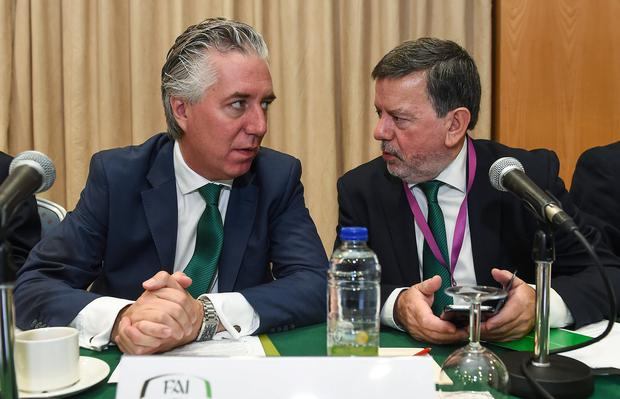 John Delaney with FAI president Donal Conway. Photo: David Maher/Sportsfile
