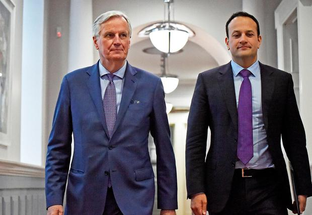Michel Barnier (left), the EU's Chief Brexit Negotiator, meets with Taoiseach Leo Varadkar at Government Buildings in Dublin for talks. Photo: PA