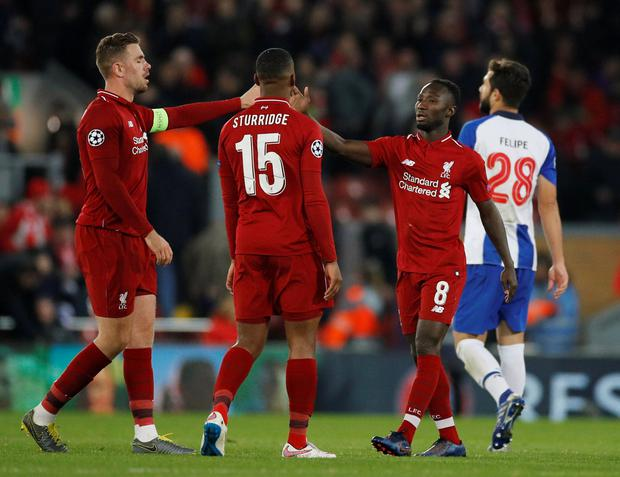 Liverpool's Naby Keita and Jordan Henderson after the match