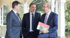 Pictured at the announcement of Dairygold's annual financial results for 2018 are; Michael Harte, Chief Financial Officer, John O' Gorman, Chairman and Jim Woulfe, Chief Executive. Picture Colm Mahady / Fennells - Copyright© Fennell Photography 2019