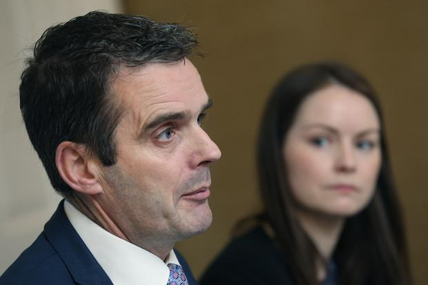 Dr Edel Kelly, IFA Chief Economist flanks IFA President Joe Healy at the launch of IFA Manifesto for the European Parliament & Local Government Elections in Dublin. Picture: Finbarr O'Rourke