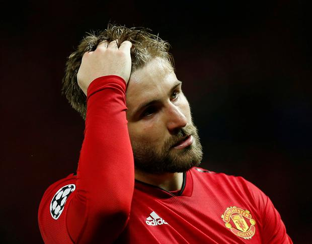 Manchester United's Luke Shaw reacts after the match. REUTERS/Andrew Yates