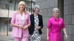 Women's rights: (left-right) RTÉ presenter Miriam O'Callaghan, Women's Aid director Margaret Martin, and Minister Katherine Zappone at report launch. Photo: Paul Sharp/SHARPPIX