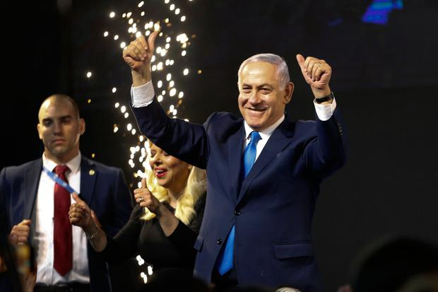 With 98pc of votes counted, Netanyahu's alliance with right-wing parties gave him a clear path to form the next government. Image: AP Photo/Ariel Schalit