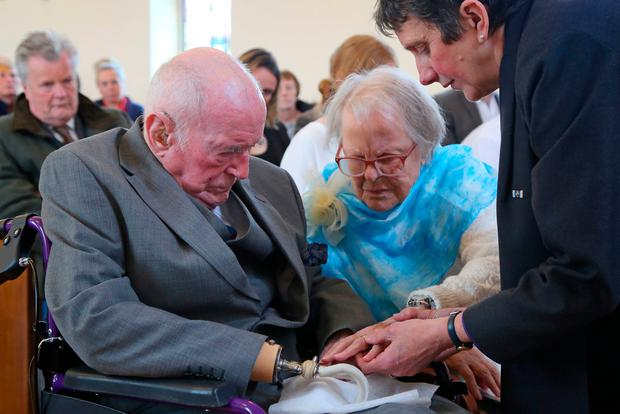 Peter Van Zeller and Nancy Bowstead at their blessing ceremony. Photo: Gareth Fuller/PA Wire