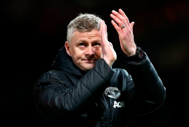 Manchester United manager Ole Gunnar Solskjaer applauds the fans at the end of the UEFA Champions League quarter final, first leg match at Old Trafford, Manchester. Nick Potts/PA Wire