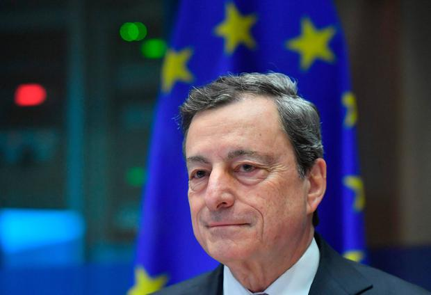 Looking to rev up wider economy: Mario Draghi during a news conference at the ECB headquarters in Frankfurt, Germany, yesterday. Photo: AFP/Getty Images