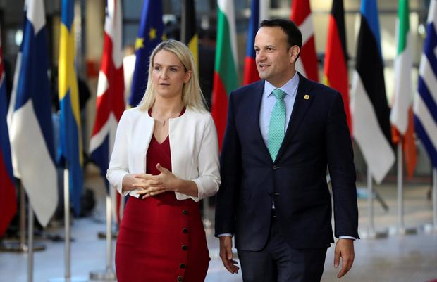 Walk tall: Taoiseach Leo Varadkar and Ireland's European Minister Helen McEntee in Brussels yesterday. Photo: REUTERS/Yves Herman
