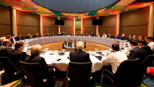European leaders attend a round table meeting in Brussels. Photo: PA